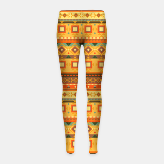 Thumbnail image of Aztec and Nordic Pattern Autumn Girl's leggings, Live Heroes