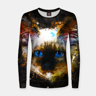 Thumbnail image of gxp holy birma cat blue eyes splatter watercolor Woman cotton sweater, Live Heroes