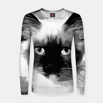 Thumbnail image of gxp holy birma cat blue eyes vector art black white Woman cotton sweater, Live Heroes