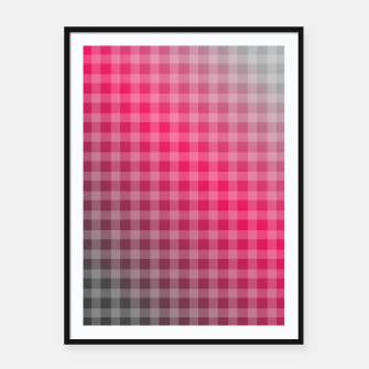Miniatur Chequered hot pink and grey stripes Framed poster, Live Heroes
