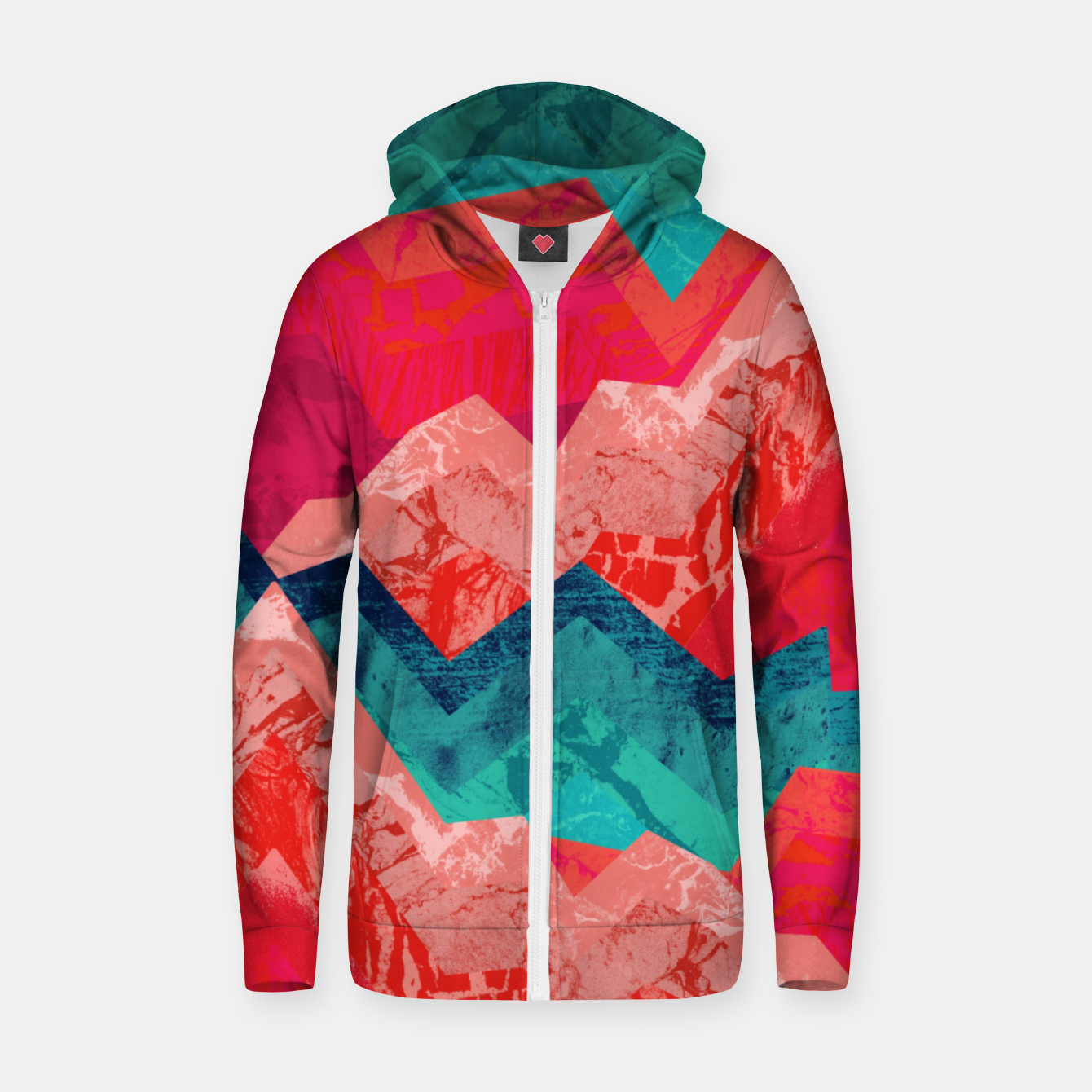 Foto The red textured hills  Cotton zip up hoodie - Live Heroes