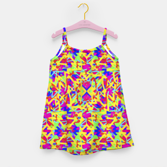 Miniatur Multicolored Linear Pattern Design Girl's dress, Live Heroes