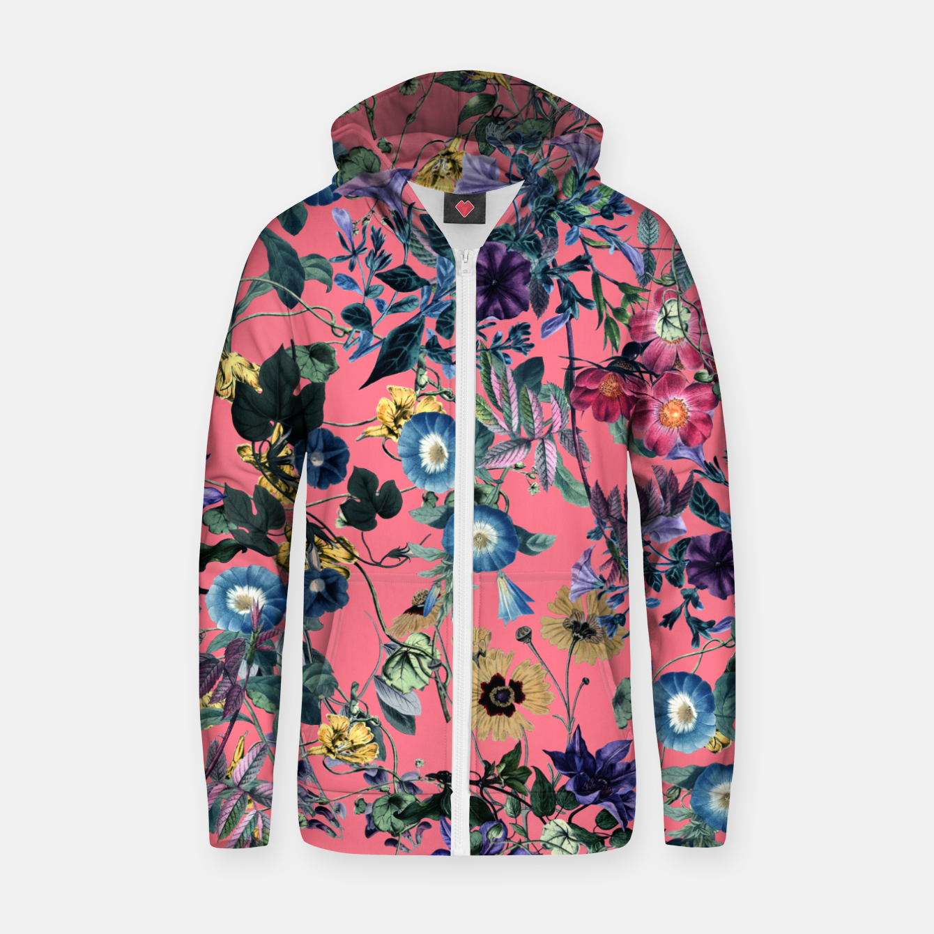 Foto Surreal Floral Cotton zip up hoodie - Live Heroes