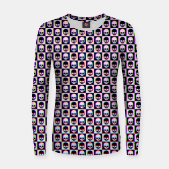 Miniaturka Glitch Checkered Skulls Pattern IV Woman cotton sweater, Live Heroes