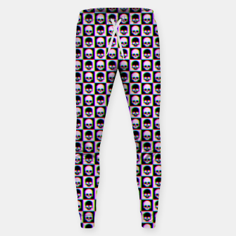 Thumbnail image of Glitch Checkered Skulls Pattern IV Cotton sweatpants, Live Heroes
