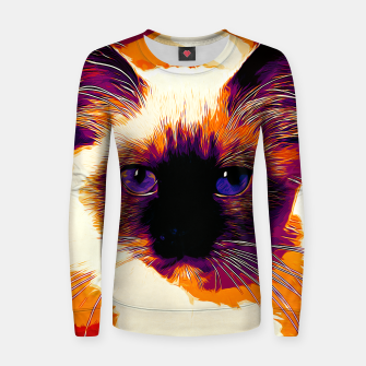 Miniaturka gxp holy birma cat blue eyes vector art late sunset Woman cotton sweater, Live Heroes