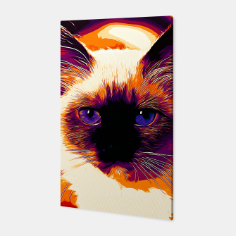 Miniatur gxp holy birma cat blue eyes vector art late sunset Canvas, Live Heroes