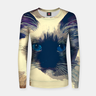 Miniaturka gxp holy birma cat blue eyes vector art foggy night Woman cotton sweater, Live Heroes