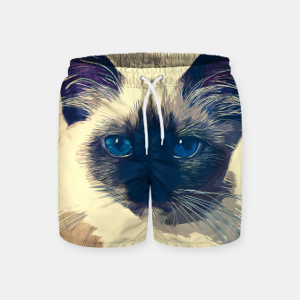 Imagen en miniatura de gxp holy birma cat blue eyes vector art foggy night Swim Shorts, Live Heroes