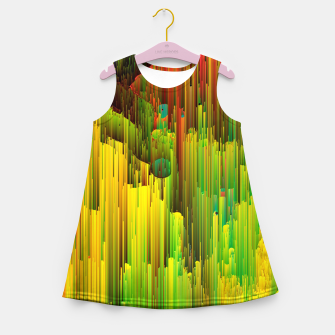 Miniaturka Organic Geometry - Glitchy Abstract Pixel Art Girl's summer dress, Live Heroes