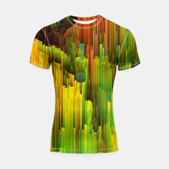 Thumbnail image of Organic Geometry - Glitchy Abstract Pixel Art Shortsleeve rashguard, Live Heroes