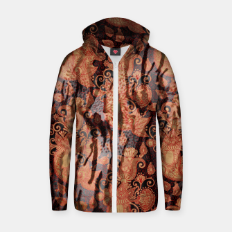 Thumbnail image of Texture Paisleys Cotton zip up hoodie, Live Heroes
