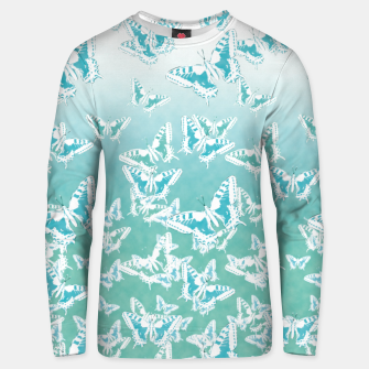 Miniatur blue butterflies in the sky Cotton sweater, Live Heroes