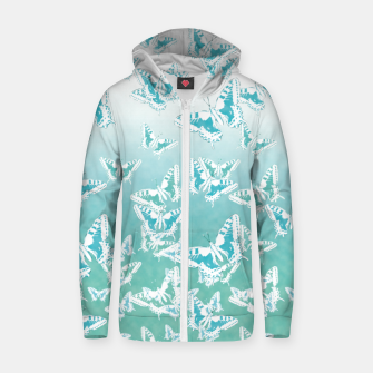 Miniatur blue butterflies in the sky Cotton zip up hoodie, Live Heroes