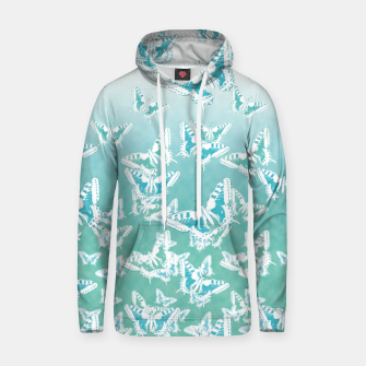 Miniatur blue butterflies in the sky Cotton hoodie, Live Heroes