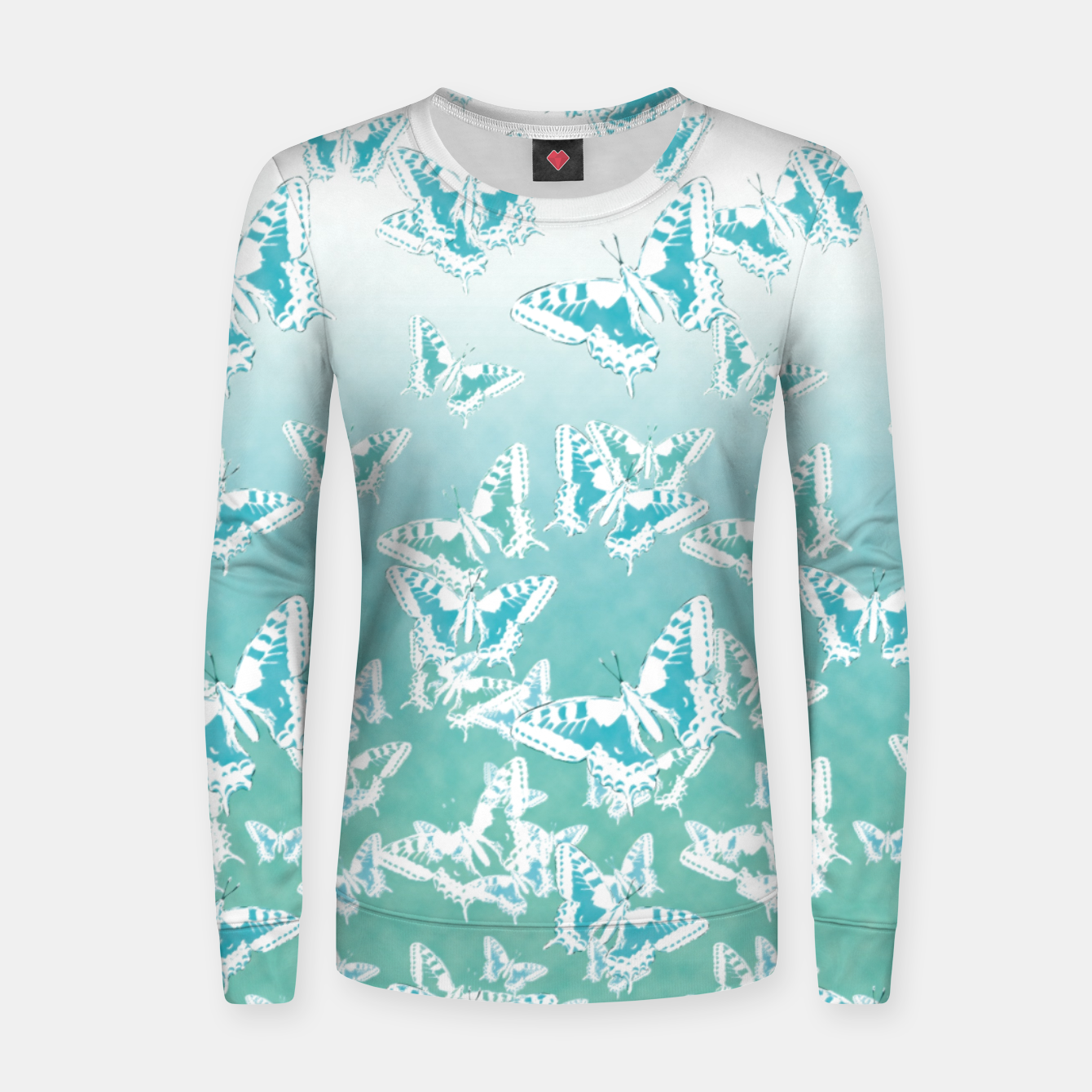 Foto blue butterflies in the sky Woman cotton sweater - Live Heroes
