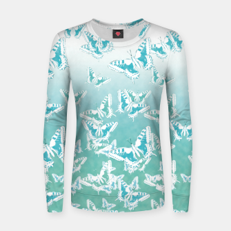 Miniatur blue butterflies in the sky Woman cotton sweater, Live Heroes