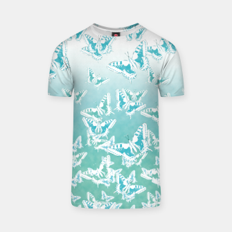 blue butterflies in the sky T-shirt Bild der Miniatur
