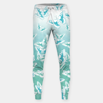 Miniatur blue butterflies in the sky Cotton sweatpants, Live Heroes