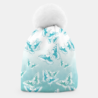 Miniatur blue butterflies in the sky Beanie, Live Heroes