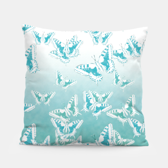 Miniatur blue butterflies in the sky Pillow, Live Heroes
