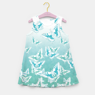 Miniatur blue butterflies in the sky Girl's summer dress, Live Heroes