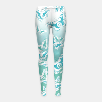 blue butterflies in the sky Girl's leggings Bild der Miniatur