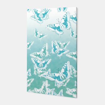 Miniatur blue butterflies in the sky Canvas, Live Heroes