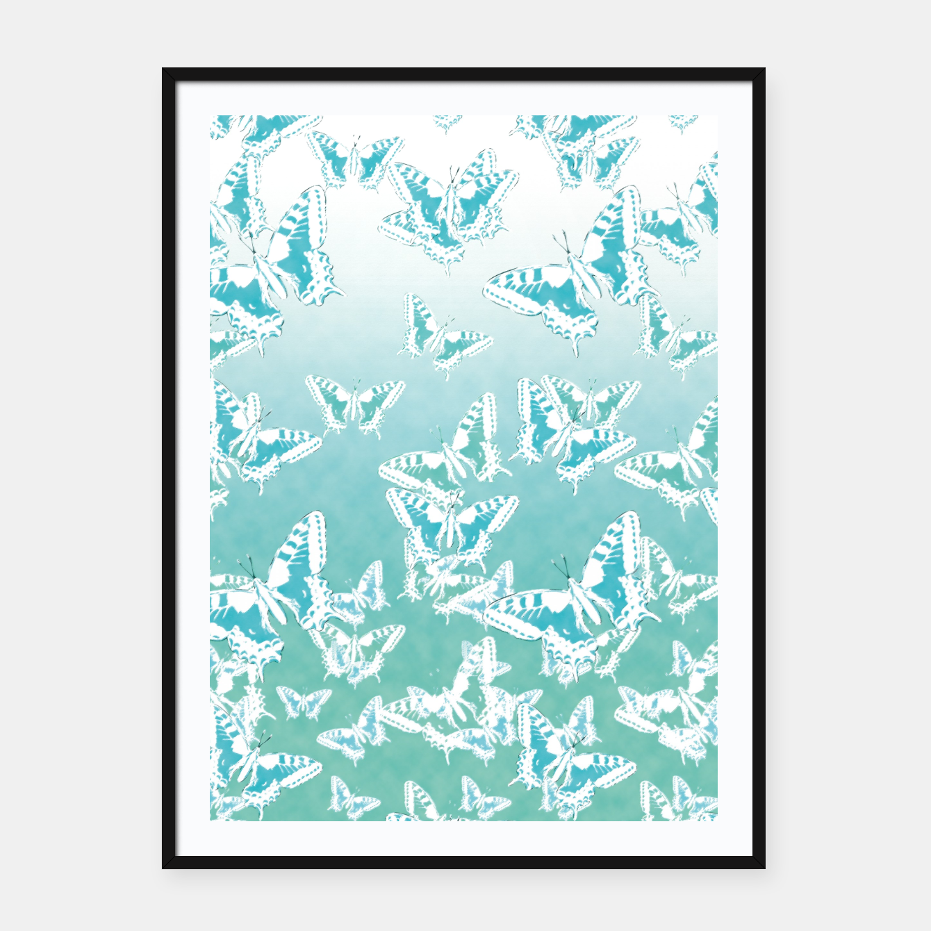 Foto blue butterflies in the sky Framed poster - Live Heroes