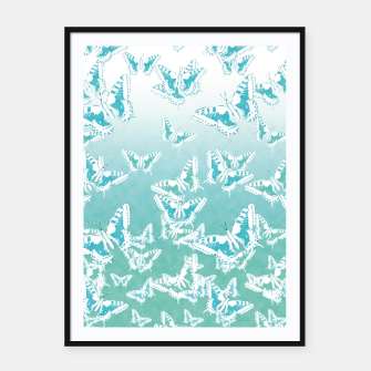 Miniatur blue butterflies in the sky Framed poster, Live Heroes