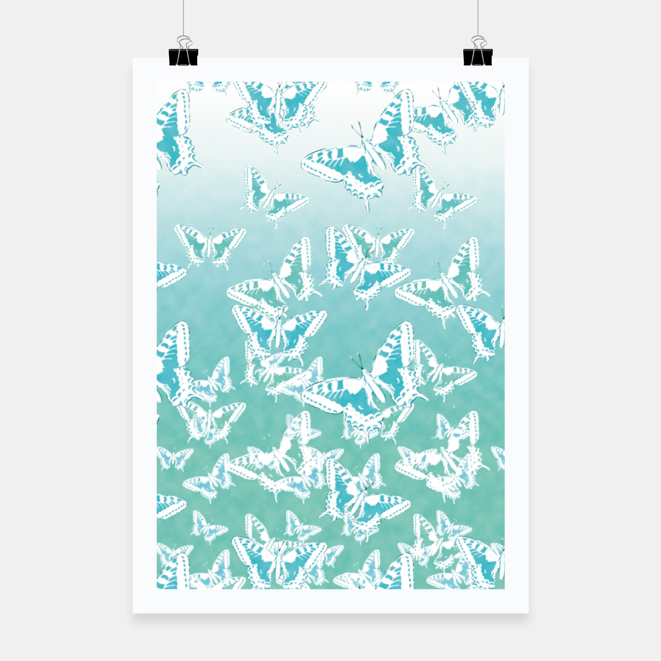 Foto blue butterflies in the sky Poster - Live Heroes