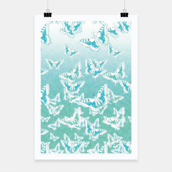 Miniatur blue butterflies in the sky Poster, Live Heroes