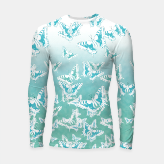 Thumbnail image of blue butterflies in the sky Longsleeve rashguard , Live Heroes
