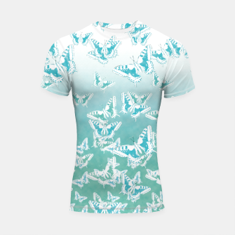 Miniatur blue butterflies in the sky Shortsleeve rashguard, Live Heroes
