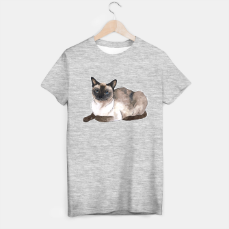 Thumbnail image of Siamese cat T-shirt regular grey, Live Heroes