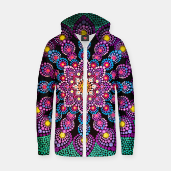Thumbnail image of Purple Mandala Dot-Painting - Art&Deco By Natasha Cotton zip up hoodie, Live Heroes