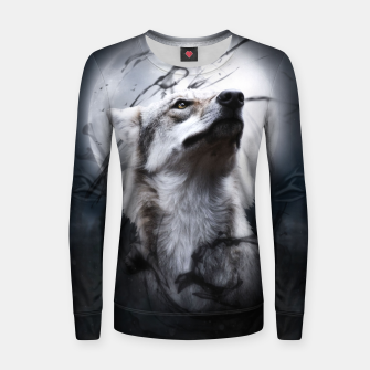Thumbnail image of The Wolf and the Moon Frauen baumwoll sweatshirt, Live Heroes