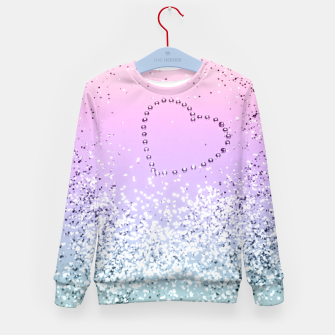 Thumbnail image of Sparkling UNICORN Girls Glitter Heart #1 #shiny #pastel #decor #art  Kindersweatshirt, Live Heroes