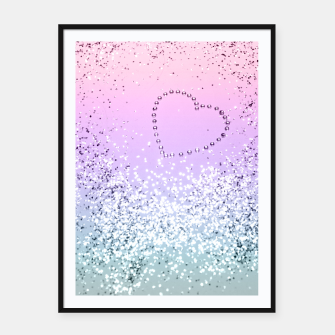 Thumbnail image of Sparkling UNICORN Girls Glitter Heart #1 #shiny #pastel #decor #art  Plakat mit rahmen, Live Heroes