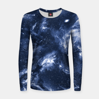 Dark Blue Galaxy Woman cotton sweater obraz miniatury
