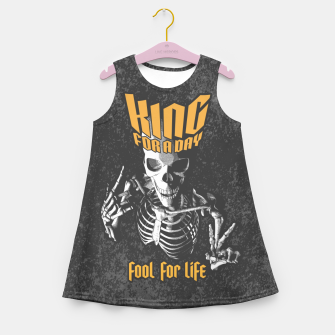 Miniatur King For A Day Skull Girl's summer dress, Live Heroes