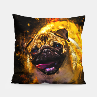 Thumbnail image of gxp hungry pug dog splatter watercolor Pillow, Live Heroes