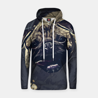 Thumbnail image of gxp hungry pug dog vector art late night Cotton hoodie, Live Heroes