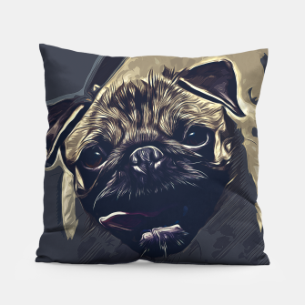 Thumbnail image of gxp hungry pug dog vector art late night Pillow, Live Heroes