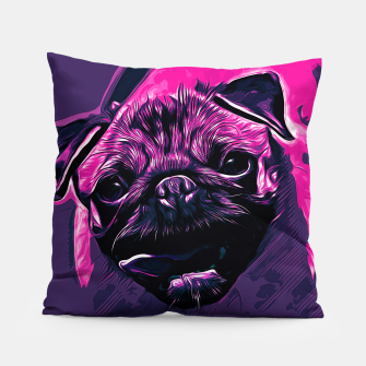 Thumbnail image of gxp hungry pug dog vector art purple pink Pillow, Live Heroes