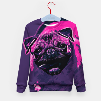Thumbnail image of gxp hungry pug dog vector art purple pink Kid's sweater, Live Heroes