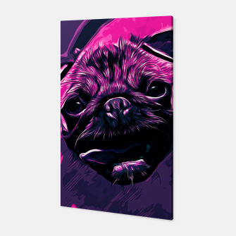 Miniatur gxp hungry pug dog vector art purple pink Canvas, Live Heroes