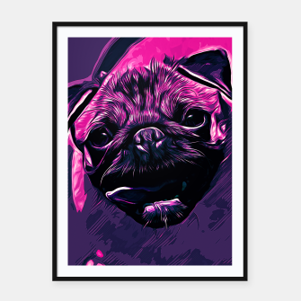 Miniatur gxp hungry pug dog vector art purple pink Framed poster, Live Heroes