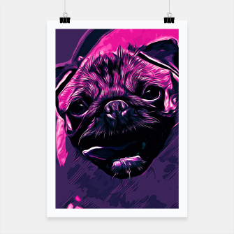 Miniatur gxp hungry pug dog vector art purple pink Poster, Live Heroes