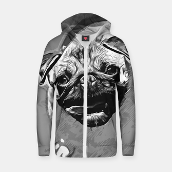 Miniatur gxp hungry pug dog vector art black white Cotton zip up hoodie, Live Heroes